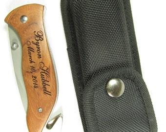 3 Custom Knives with Case, Rescue Knife, Personalized Knife, Custom Engraved Knife Groom Gift for Him, Groomsman Favor, Stocking Stuffer
