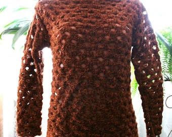 Knitted Sweater with Thick Netted Pattern.