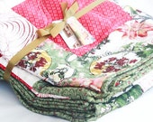 Large Winter Quilt -- Poinsettia Holiday in Red and Green Christmas In July