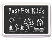Just For Kids Black Ink Pad (Washable, Child Safe, Non Toxic) FDA Approved Ink Pad • Stamping • Card Making • DIY Projects • Crafts (CS100)