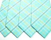 Aqua Plaid Mens Neckties Aqua Necktie Wedding Neckties Aqua Neckties Mens Neckties Custom Neckties