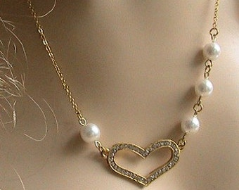 Gold Heart Pearl Necklace - Wedding Jewelry, Bridal Jewelry, Bridesmaid Jewelry