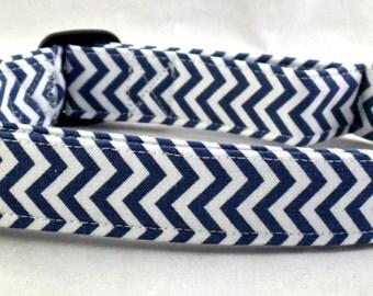 Dark Navy Blue and White Chevron Zig Zag Stripe Dog Collar