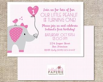 Birthday party invitation--Our Little Peanut/Elephant