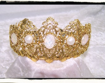 Opal and White Pearl Aurora Gold Finish Filigree Tiara Crown Tudor Renaissance Medieval Game of Thrones