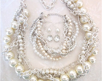 Chunky Pearl Wedding Set, Wedding Statement Necklace, Bracelet, Earrings Set Chunky Pearl & Silver Bridal Statement Wedding Jewelry Pearly Q