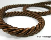 Twisted silk cord, 9mm, brown satin cord, 1 meter