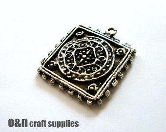 Bohemian square pendant, antique metal pendant, 2