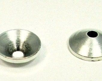 Antique silver bead caps, 10mm, 10 pieces