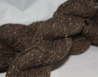 30% off STORE CLOSING SALE Reclaimed Dark Brown Cotton Silk Lambswool Tweedy Yarn, Fingering Weight Yarn - 454 Yards
