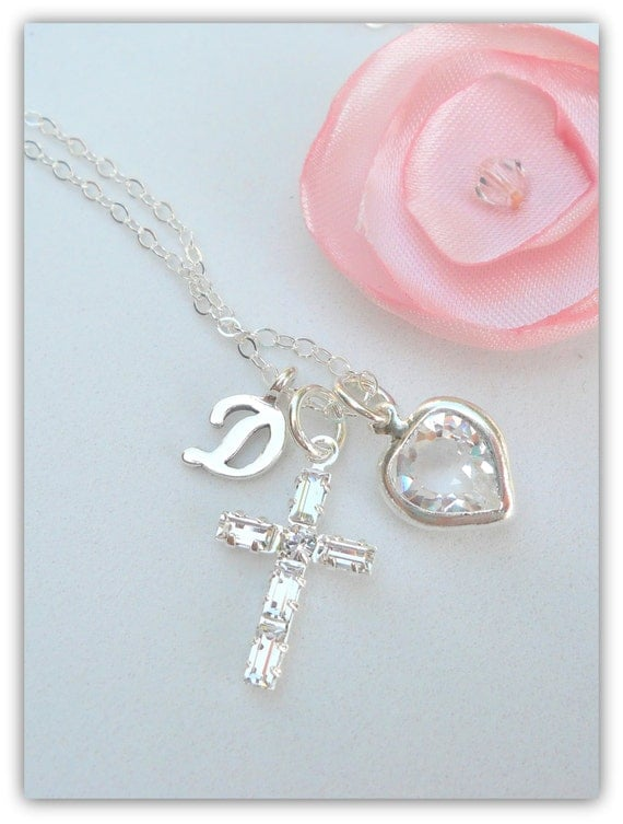 cross necklace baptism christening necklace by