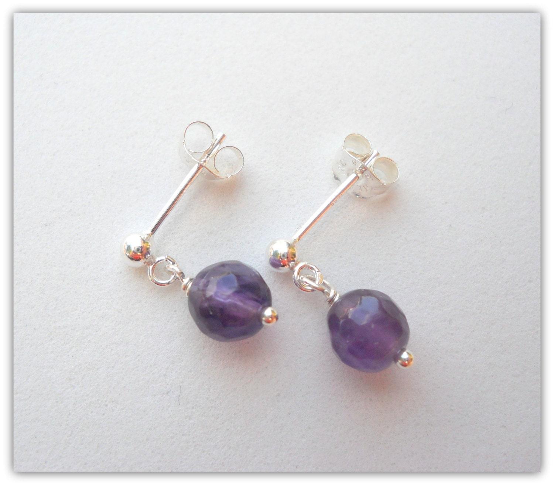 Little Girls Earrings Flower Girl Jewelry February Birthstone