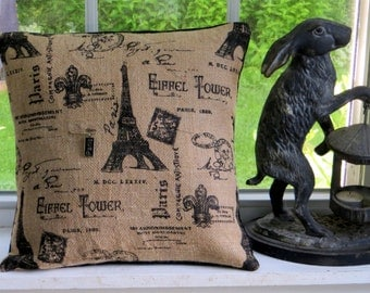 French burlap decorative Eiffel Tower pillow cover