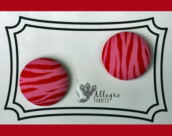 Large Fabric Covered Buttons Button Set of 2 Novelty Red Pink Zebra Animal Print Tippy Toes Henry Glass