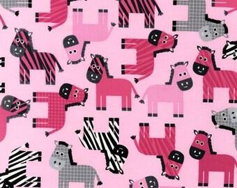 Urban Zoologie Fabric by Ann Kelle for Robert Kaufman Pink Striped Multicolored Zebras Zebra on Pink