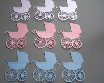 Baby Buggy Die Cuts White, Blue, Pink set of 9