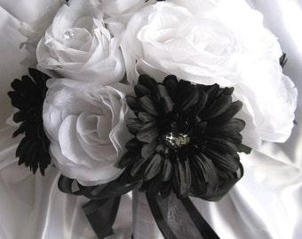 """17 piece Wedding Bouquet Bridal Silk flowers Package WHITE BLACK DAISY Artificial bouquets arrangement centerpieces """"RosesandDreams"""""""