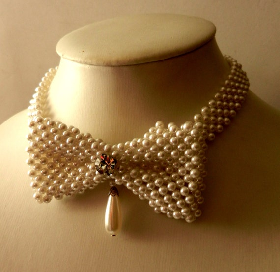 Vintage 1970 Venice collier - handmade choker necklace signed MARIAANGELA - Made in Italy, pearls and crystal very cool-art.766-