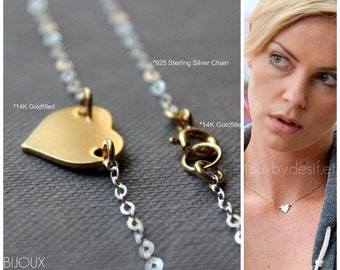 Heart Necklace - Celebrity Style - Mixed Metals