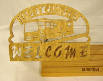 MOTORHOME CAMPER Welcome Happy Camper  Scroll Saw PLAQUE