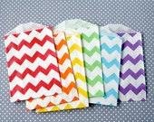Rainbow Mix Chevron Paper Bags - Goody Bags (24) -  2.75 x 4 inches