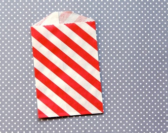"""Little Red Striped Party Favor Bags - Goody Bags - 2.75 x 4"""" (20)"""