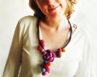 felt balls necklace, statement necklace, bib necklace, eco friendly, spring fashion