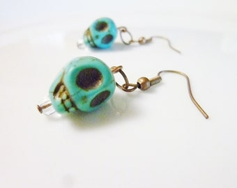 Turquoise skull earrings with real copper