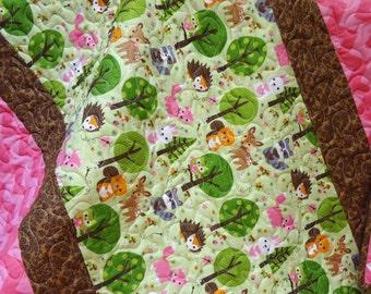 Woodland Baby Quilt-Chevron Quilt Baby Girl Quilt-Pink Chevron-Owl Baby Quilt-Modern-Homemade-Forest Animals-Brown Damask