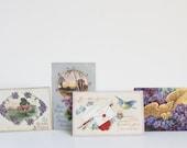 Antique Postcards, Birthday, Purple and Lavender, Circa 1911, Birthday Cards, Cottage Decor, February Birthday Gift Idea Little Something