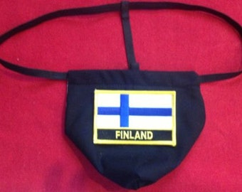 Mens FINLAND Winter Olympics G-String Thong Male Soccer World Cup Lingerie Country Underwear