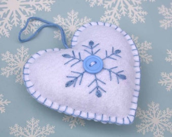Scandinavian heart Christmas Ornament, handmade heart ornament, Snowflake ornament, Blue and white felt heart ornament, Christmas heart