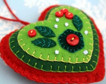 Felt Christmas ornament, Red & Green heart Christmas ornament, Handmade Christmas ornament, Felt heart decoration, Heart Christmas ornament