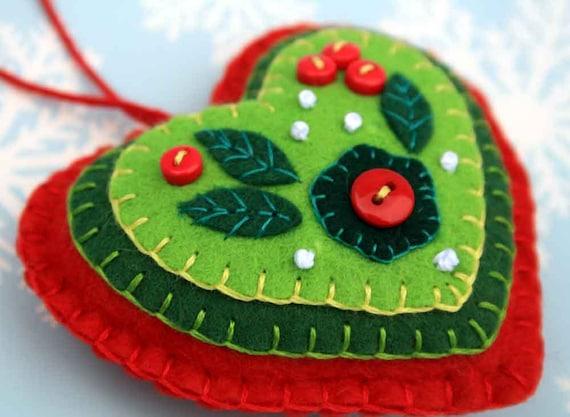 Felt Christmas ornament, Red & Green heart Christmas ornament, handmade christmas ornament, felt heart ornament, heart Christmas ornament