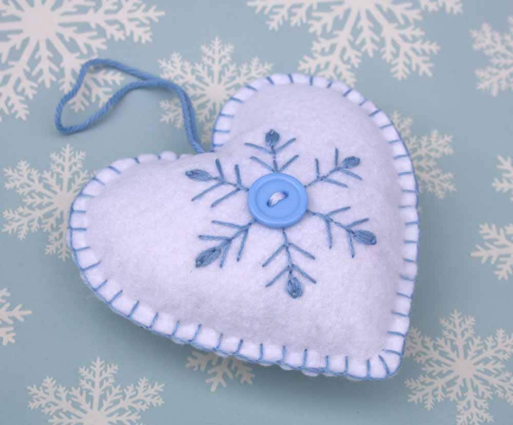 Embroidered christmas ornaments - Scandinavian Heart Christmas Ornament Handmade Heart Ornament Snowflake Ornament Blue And White Felt