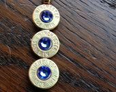 Super Duper Custom Order for Jeanine D. Handmade Personalized Triple .308 Caliber Bullet Drop Necklace with Sapphire Swarovski Crystals