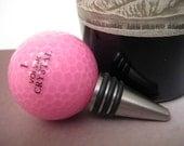 Wine Bottle Stopper Pink Lady Golf Ball Stainless Steel Barware