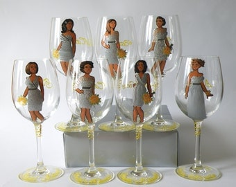 SALE Bridal Party Wine or champagne Glasses Bridesmaids Gift - Personalized Caricatures African American