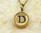 Letter D Necklace- Bronze Initial Typewriter Key Charm Necklace - Gwen Delicious Jewelry Design GDJ