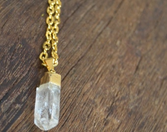Clear Crystal Quartz Necklace 24K Gold Dipped Jewelry Gold Filled Chain Jewelry Icicle Point Arrow Spike Gemstone