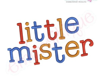 Little Mister Monogram Font Set- Machine Embroidery Font Alphabet Letters -Instant Download -Digital Machine Embroidery Design
