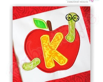 Apple with Worm Applique Monogram Set- Machine Embroidery Font Alphabet Letters  - Instant Email Delivery Download Back to school