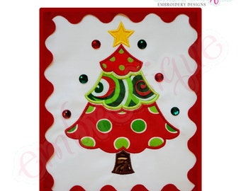 Simple Christmas Tree Applique - Large- Instant Email Delivery Download Machine embroidery design