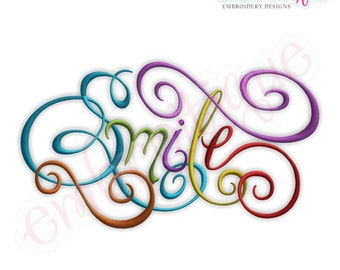 Smile Calligraphy Script Embroidery Design - Small- Instant Email Delivery Download Machine embroidery design