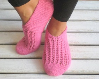 Handknitt Slippers, Wool Slippers, Pink Slippers, Slippers, Womens Slippers, Christmas Gift