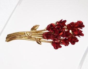 DM Rose Bouquet Gold Tone Pin Vintage
