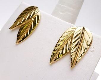 Double Leaf Gold Toned Stud Earrings