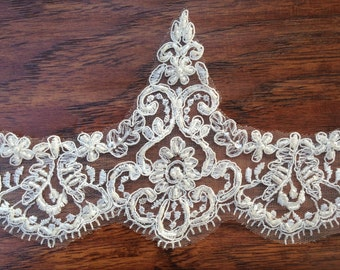 Beaded Alencon lace, Beaded lace with small beads and bugle beads