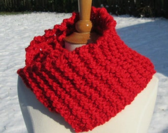 Cozy and Plush Bright Primary Red Cowl Scarf Neck Warmer