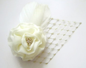 IVORY and GOLD Flower Feather and Veil Hair Fascinator Clip Simple Chic